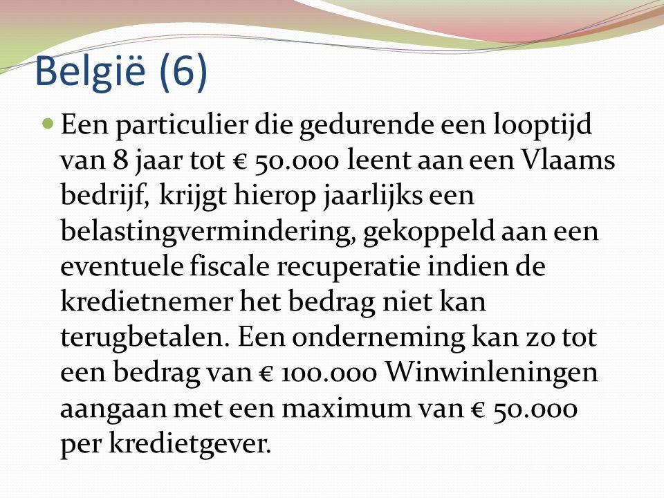België (6)  Een particulier die gedurende een looptijd van 8 jaar tot € 50.000 leent aan een Vlaams bedrijf, krijgt hierop jaarlijks een belastingver