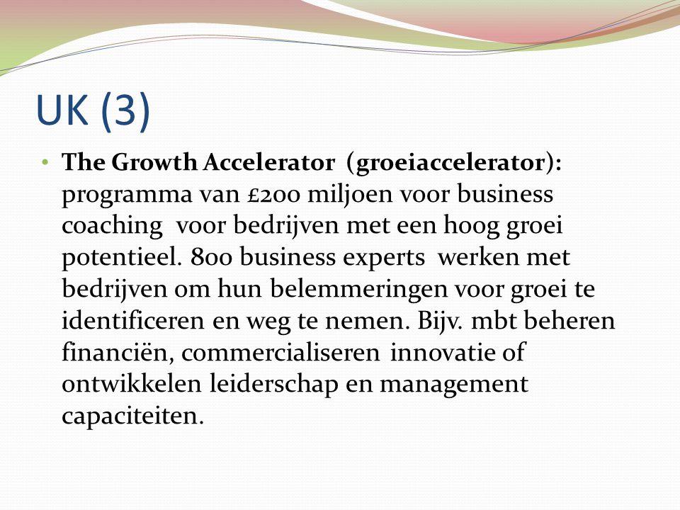 UK (3) • The Growth Accelerator (groeiaccelerator): programma van £200 miljoen voor business coaching voor bedrijven met een hoog groei potentieel. 80