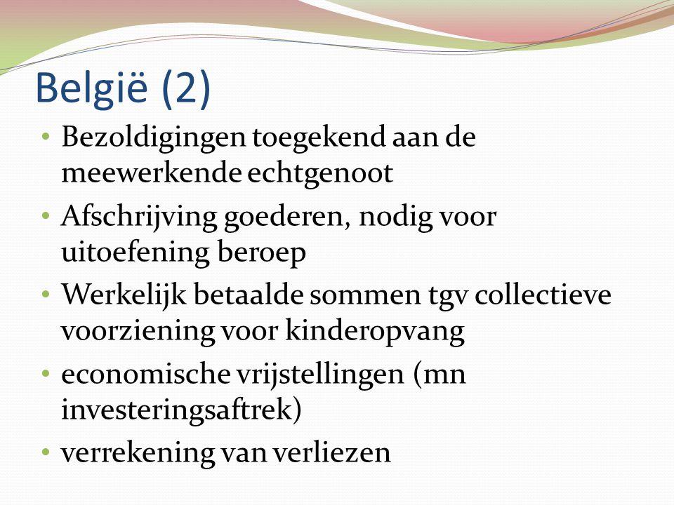 België (2) • Bezoldigingen toegekend aan de meewerkende echtgenoot • Afschrijving goederen, nodig voor uitoefening beroep • Werkelijk betaalde sommen
