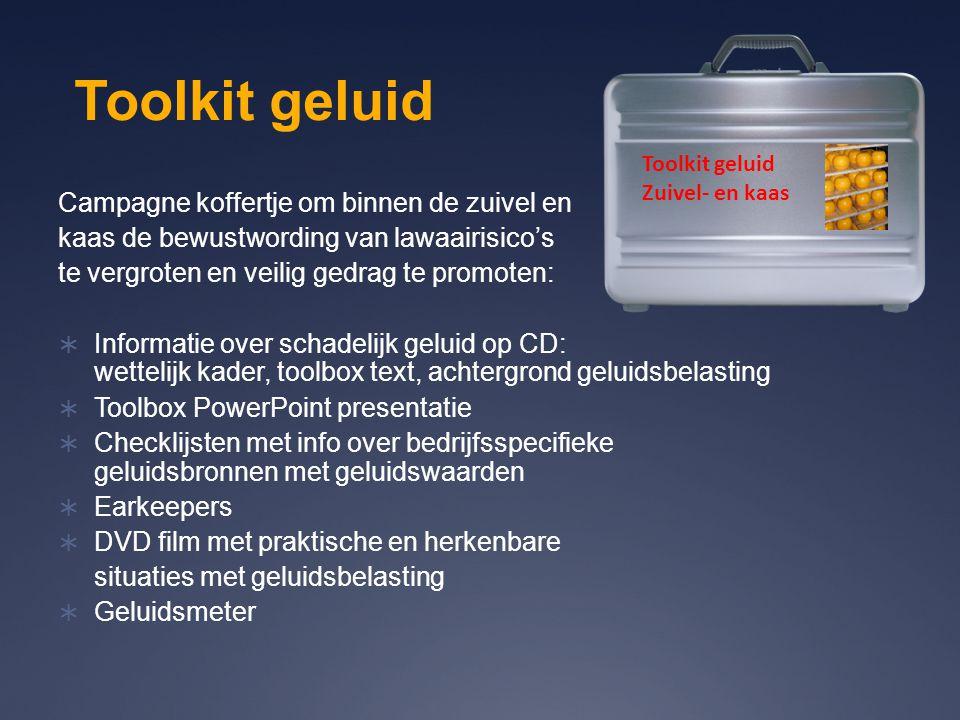 Toolkit geluid Zuivel- en kaas Campagne koffertje om binnen de zuivel en kaas de bewustwording van lawaairisico's te vergroten en veilig gedrag te pro