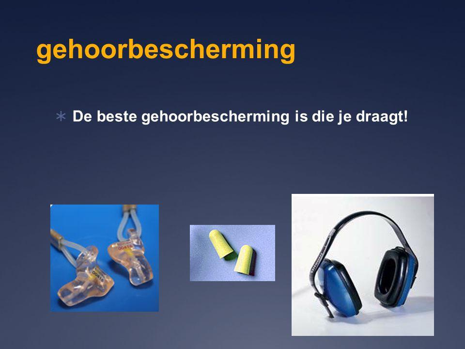 gehoorbescherming  De beste gehoorbescherming is die je draagt!