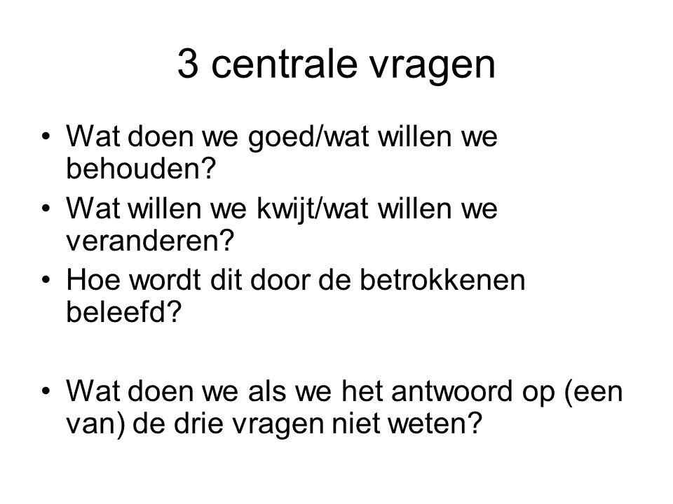 3 centrale vragen •Wat doen we goed/wat willen we behouden? •Wat willen we kwijt/wat willen we veranderen? •Hoe wordt dit door de betrokkenen beleefd?