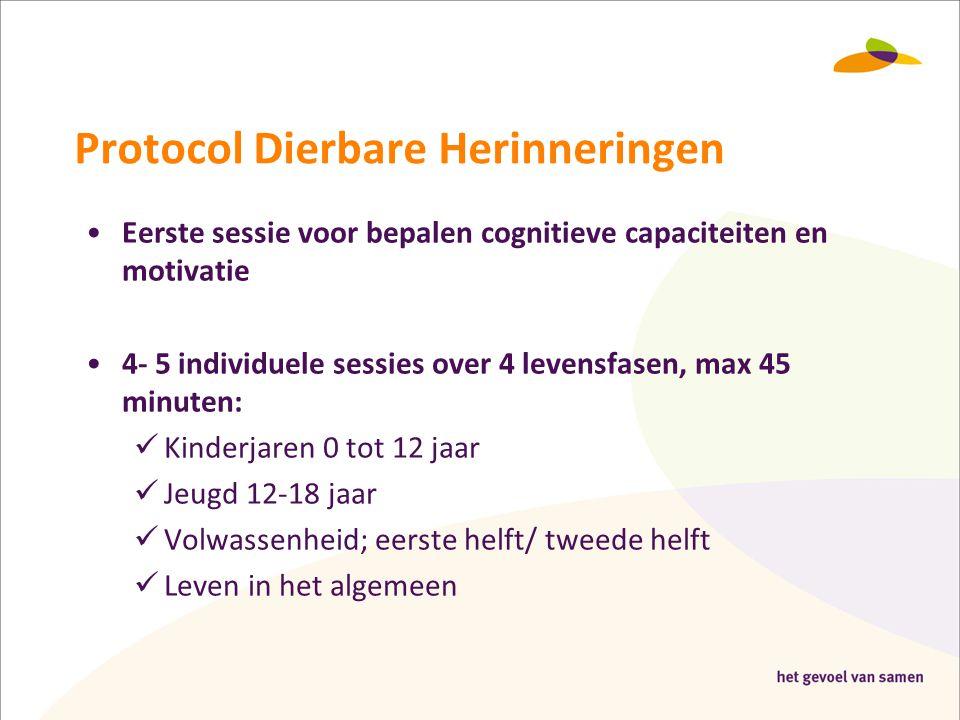 Protocol Dierbare Herinneringen •Eerste sessie voor bepalen cognitieve capaciteiten en motivatie •4- 5 individuele sessies over 4 levensfasen, max 45