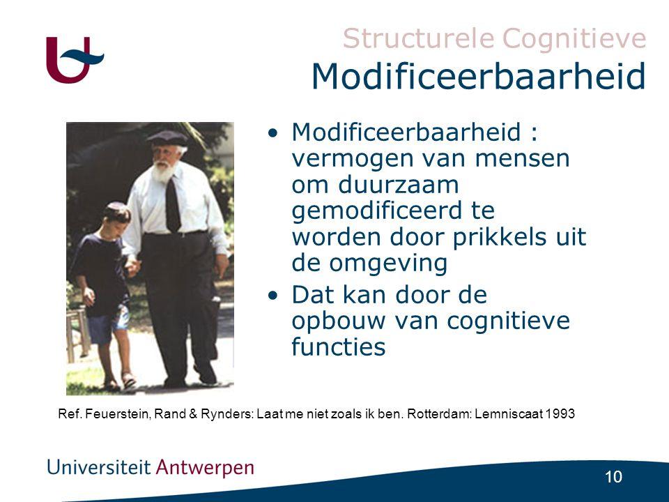 10 Structurele Cognitieve Modificeerbaarheid •Modificeerbaarheid : vermogen van mensen om duurzaam gemodificeerd te worden door prikkels uit de omgeving •Dat kan door de opbouw van cognitieve functies Ref.
