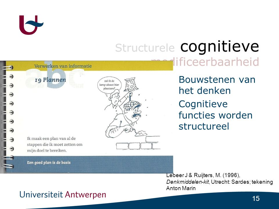 15 Structurele cognitieve modificeerbaarheid •Bouwstenen van het denken •Cognitieve functies worden structureel Lebeer J & Ruijters, M.