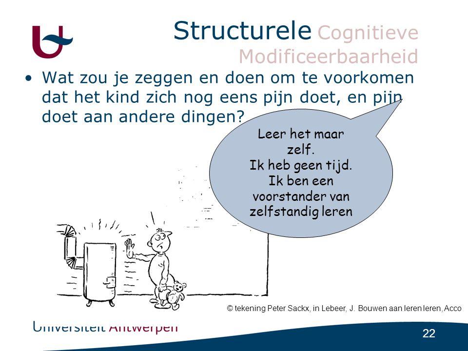 22 Structurele Cognitieve Modificeerbaarheid •Wat zou je zeggen en doen om te voorkomen dat het kind zich nog eens pijn doet, en pijn doet aan andere dingen.