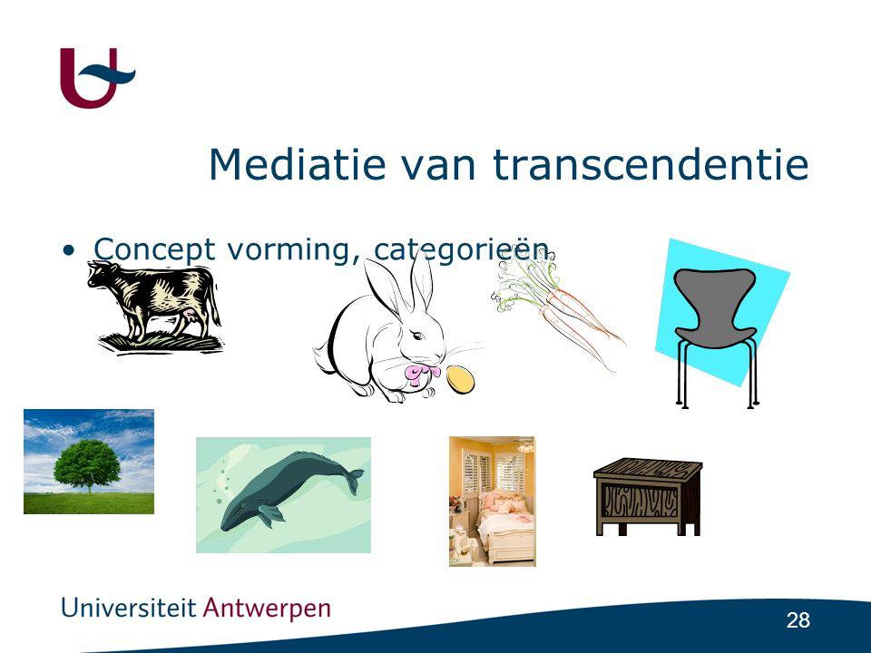 28 Mediatie van transcendentie •Concept vorming, categorieën
