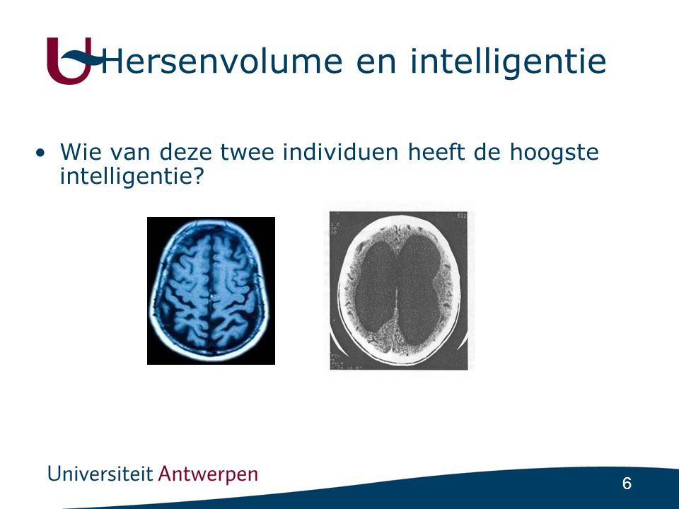 6 Hersenvolume en intelligentie •Wie van deze twee individuen heeft de hoogste intelligentie?