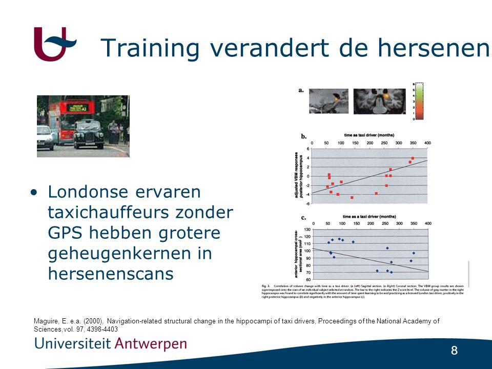 8 Training verandert de hersenen •Londonse ervaren taxichauffeurs zonder GPS hebben grotere geheugenkernen in hersenenscans Maguire, E.