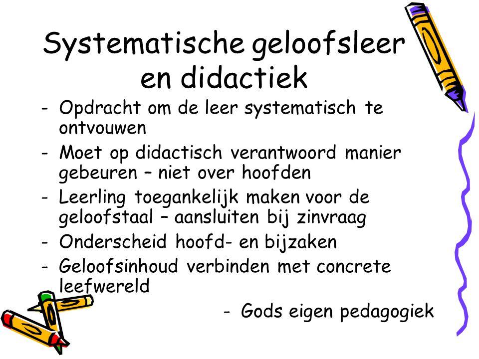 Systematische geloofsleer en didactiek -Opdracht om de leer systematisch te ontvouwen -Moet op didactisch verantwoord manier gebeuren – niet over hoof
