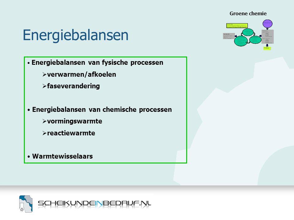 Energiebalansen Groene chemie • Energiebalansen van fysische processen  verwarmen/afkoelen  faseverandering • Energiebalansen van chemische processe