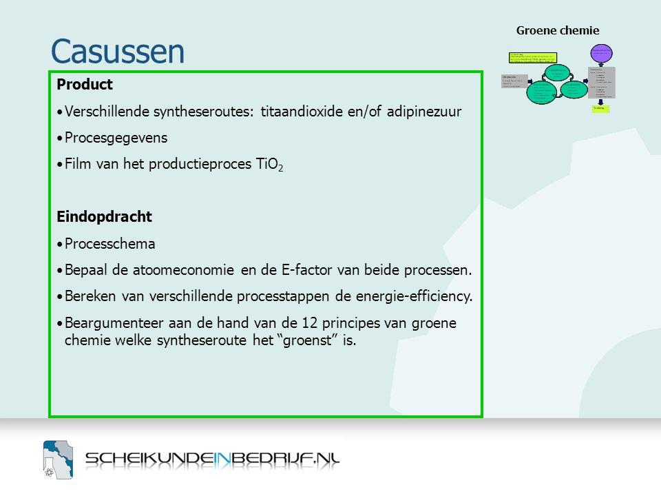 Casussen Groene chemie Product •Verschillende syntheseroutes: titaandioxide en/of adipinezuur •Procesgegevens •Film van het productieproces TiO 2 Eind