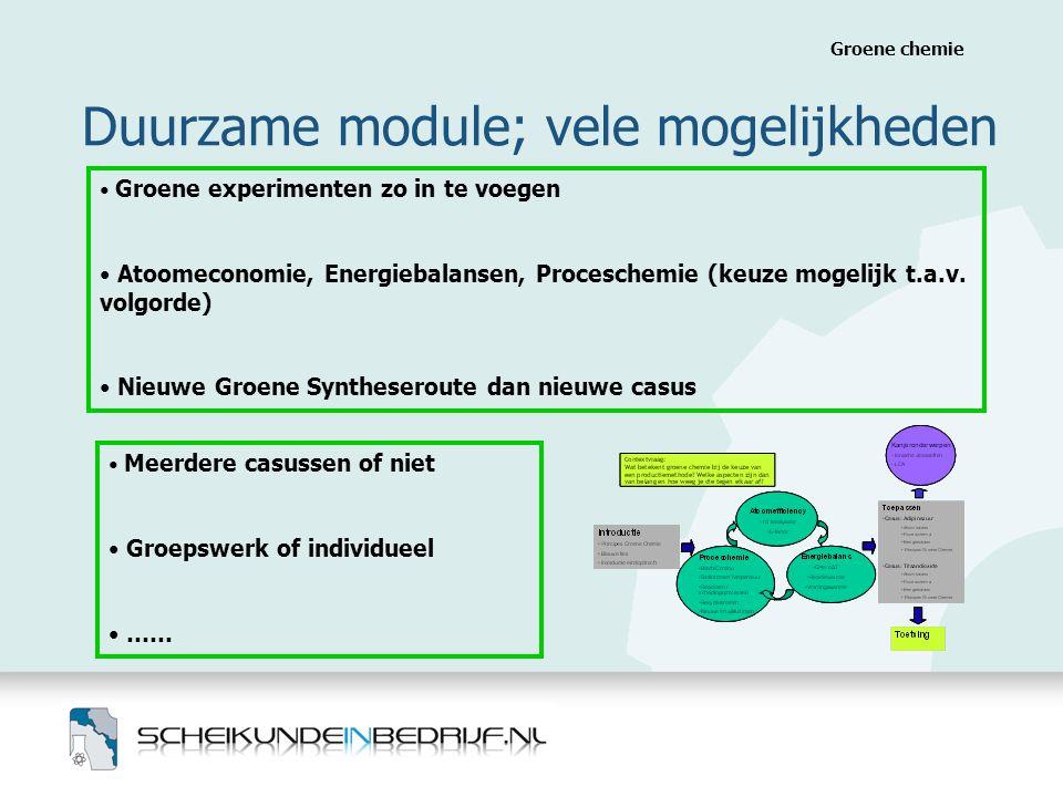 Duurzame module; vele mogelijkheden Groene chemie • Groene experimenten zo in te voegen • Atoomeconomie, Energiebalansen, Proceschemie (keuze mogelijk