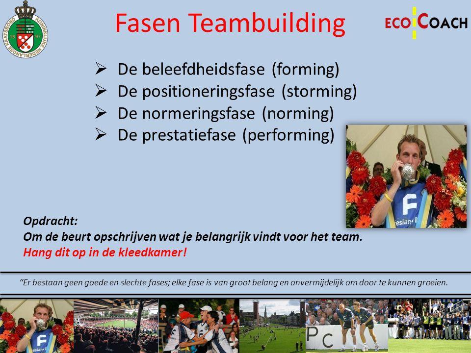 Fasen Teambuilding  De beleefdheidsfase (forming)  De positioneringsfase (storming)  De normeringsfase (norming)  De prestatiefase (performing) Op