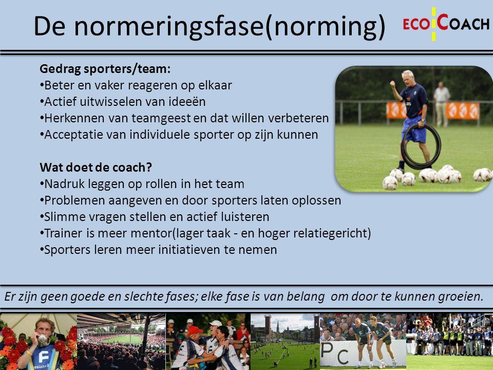 De normeringsfase(norming) Gedrag sporters/team: • Beter en vaker reageren op elkaar • Actief uitwisselen van ideeën • Herkennen van teamgeest en dat