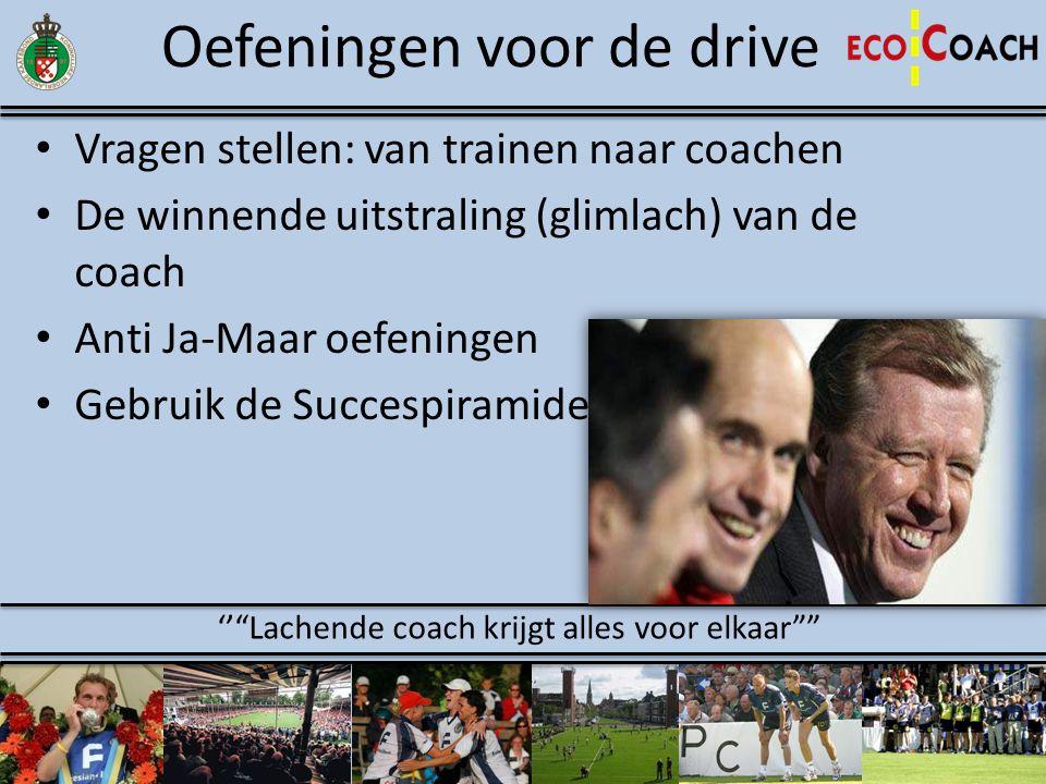 Oefeningen voor de drive • Vragen stellen: van trainen naar coachen • De winnende uitstraling (glimlach) van de coach • Anti Ja-Maar oefeningen • Gebr