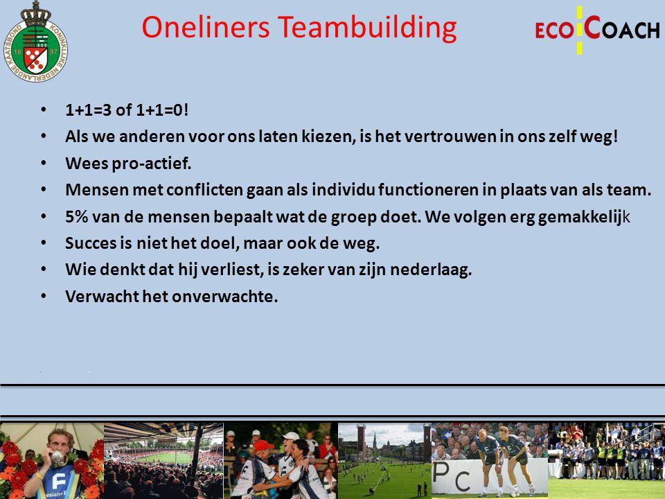 Oneliners Teambuilding • 1+1=3 of 1+1=0! • Als we anderen voor ons laten kiezen, is het vertrouwen in ons zelf weg! • Wees pro-actief. • Mensen met co