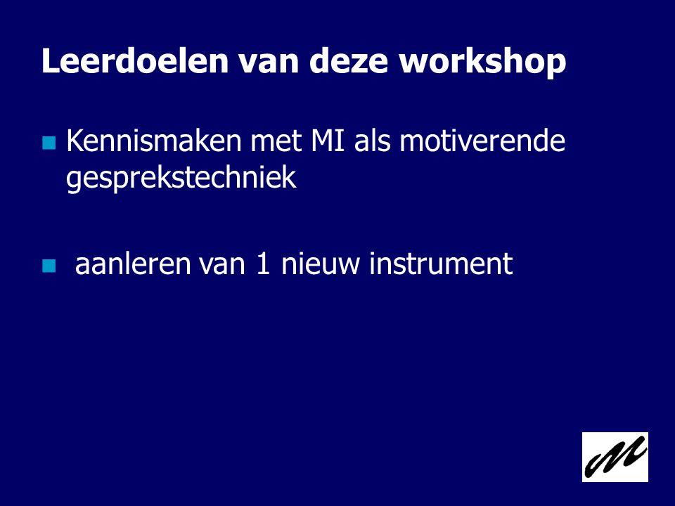 Leerdoelen van deze workshop  Kennismaken met MI als motiverende gesprekstechniek  aanleren van 1 nieuw instrument