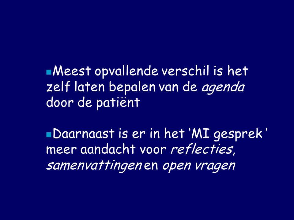  Meest opvallende verschil is het zelf laten bepalen van de agenda door de patiënt  Daarnaast is er in het 'MI gesprek ' meer aandacht voor reflecties, samenvattingen en open vragen