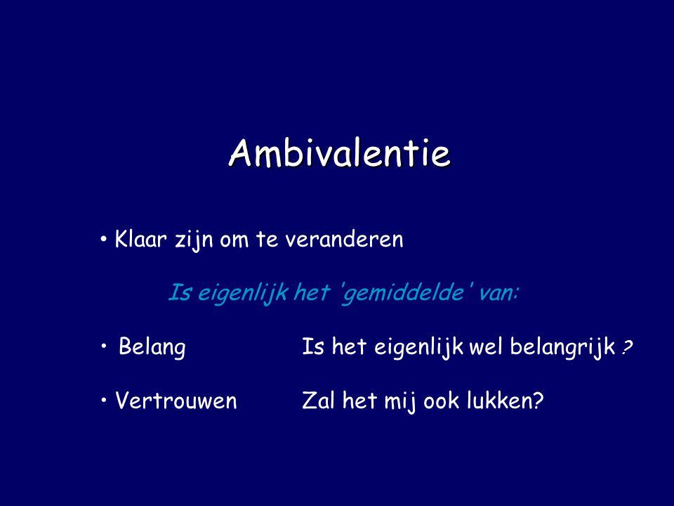 Ambivalentie • Klaar zijn om te veranderen Is eigenlijk het 'gemiddelde' van: • BelangIs het eigenlijk wel belangrijk ? • VertrouwenZal het mij ook lu