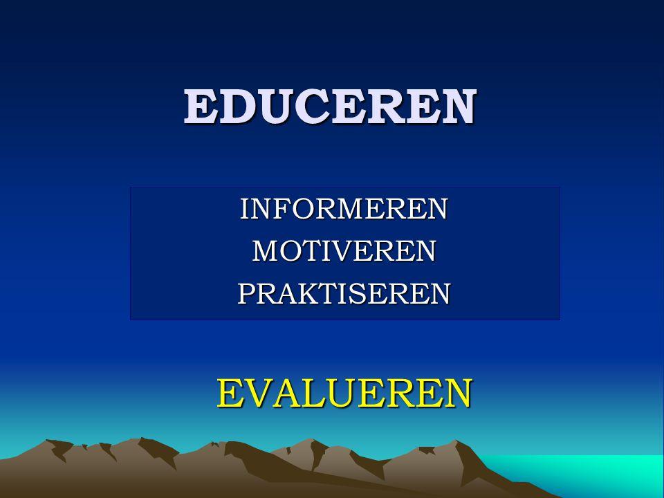 EDUCEREN INFORMERENMOTIVERENPRAKTISERENEVALUEREN