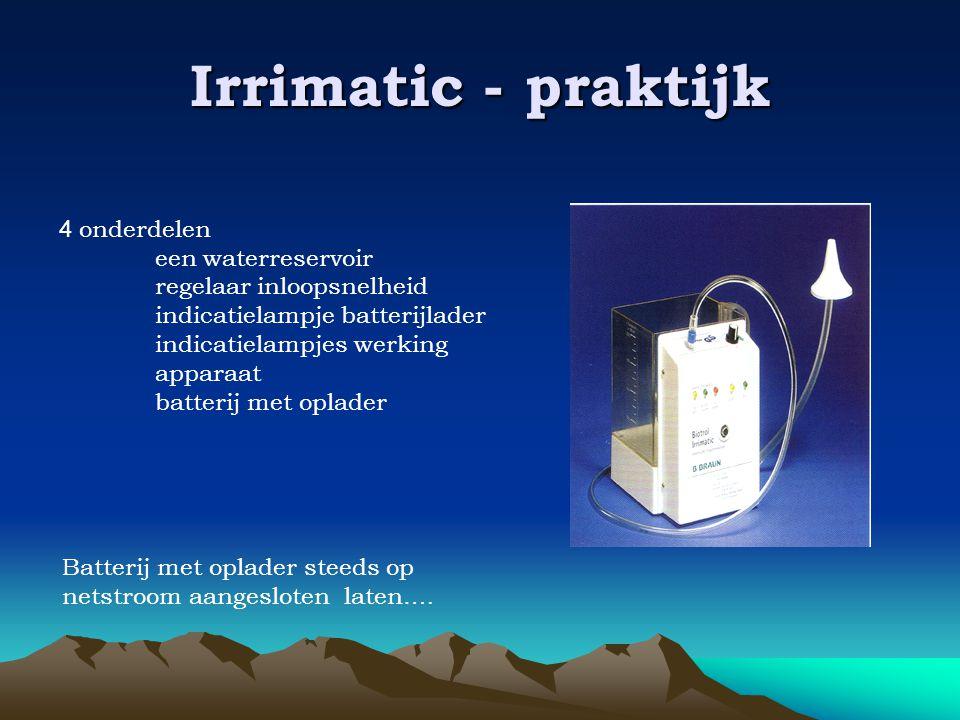Irrimatic - praktijk 4 onderdelen een waterreservoir regelaar inloopsnelheid indicatielampje batterijlader indicatielampjes werking apparaat batterij