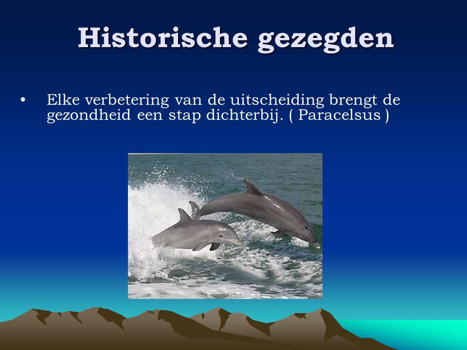 Historische gezegden •Elke verbetering van de uitscheiding brengt de gezondheid een stap dichterbij. ( Paracelsus )