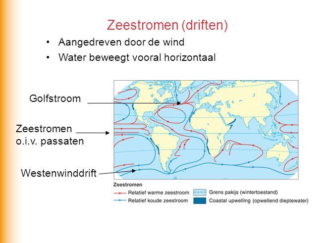 Zeestromen (driften) •Aangedreven door de wind •Water beweegt vooral horizontaal Westenwinddrift Zeestromen o.i.v. passaten Golfstroom