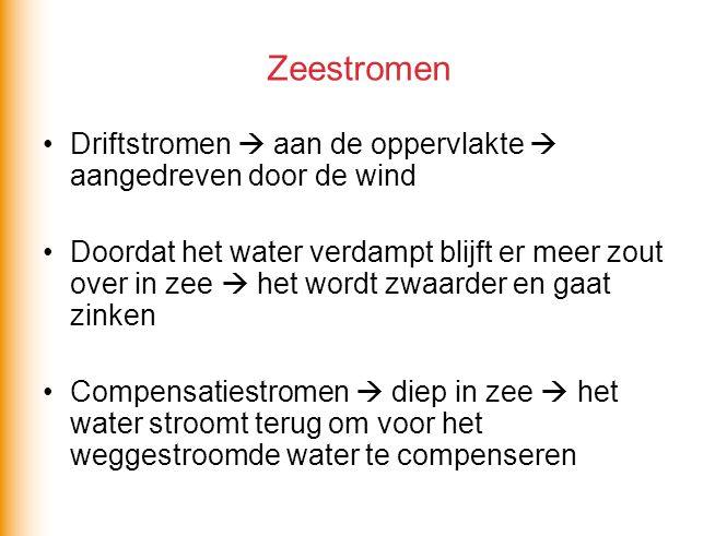 Zeestromen •Driftstromen  aan de oppervlakte  aangedreven door de wind •Doordat het water verdampt blijft er meer zout over in zee  het wordt zwaar