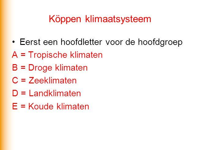 Köppen klimaatsysteem •Eerst een hoofdletter voor de hoofdgroep A = Tropische klimaten B = Droge klimaten C = Zeeklimaten D = Landklimaten E = Koude k
