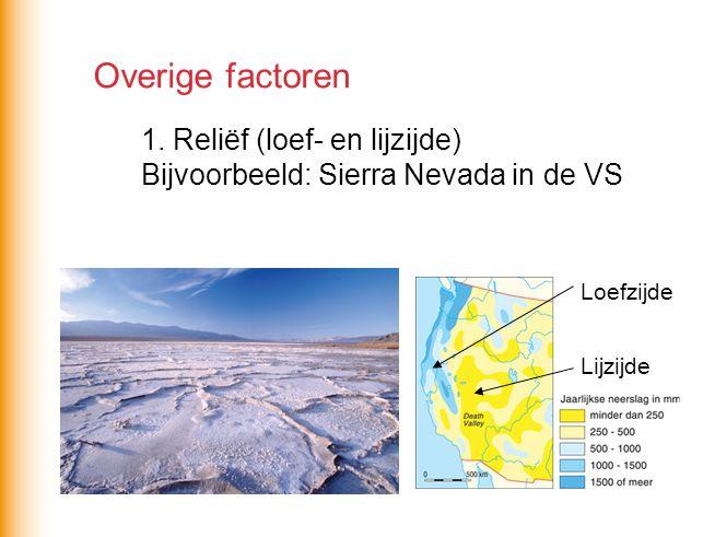 Overige factoren 1. Reliëf (loef- en lijzijde) Bijvoorbeeld: Sierra Nevada in de VS Loefzijde Lijzijde