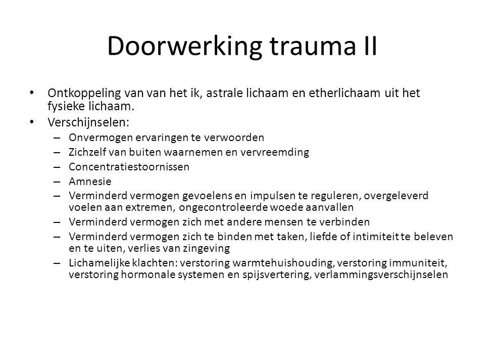 Doorwerking trauma II • Ontkoppeling van van het ik, astrale lichaam en etherlichaam uit het fysieke lichaam. • Verschijnselen: – Onvermogen ervaringe