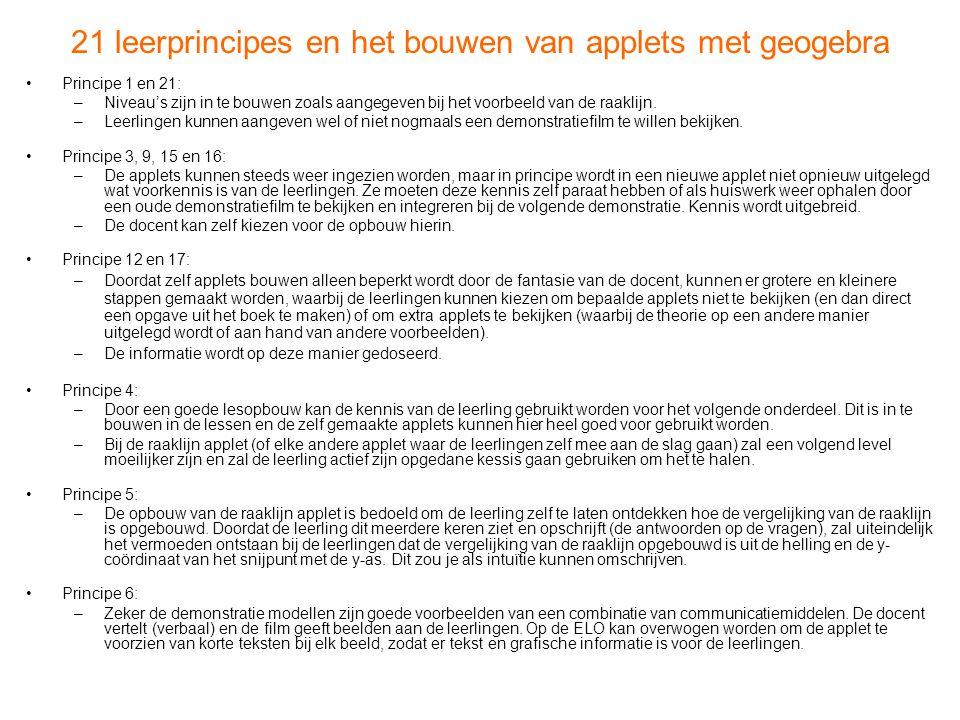 21 leerprincipes en het bouwen van applets met geogebra •Principe 1 en 21: –Niveau's zijn in te bouwen zoals aangegeven bij het voorbeeld van de raakl