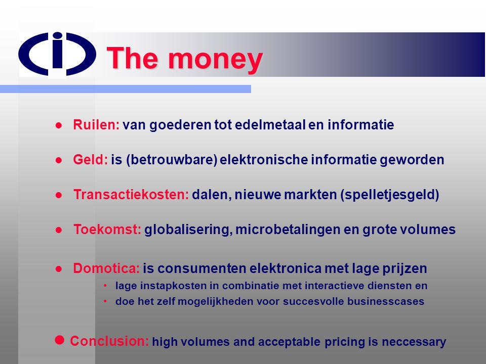 The money   Ruilen: van goederen tot edelmetaal en informatie   Geld: is (betrouwbare) elektronische informatie geworden   Transactiekosten: dal