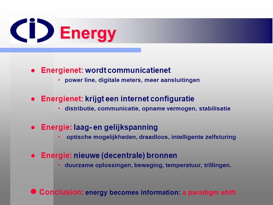 Energy   Energienet: wordt communicatienet • •power line, digitale meters, meer aansluitingen   Energienet: krijgt een internet configuratie • •di