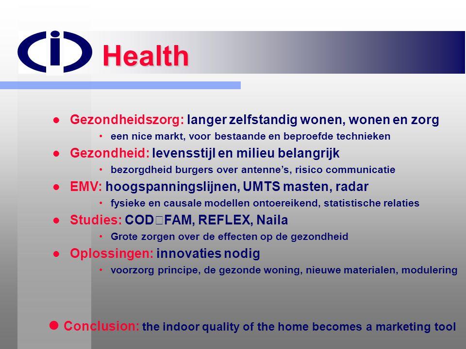 Health   Gezondheidszorg: langer zelfstandig wonen, wonen en zorg • •een nice markt, voor bestaande en beproefde technieken   Gezondheid: levensst