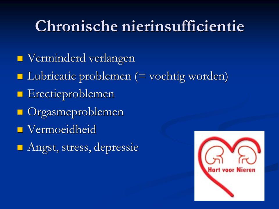 Chronische nierinsufficientie  Verminderd verlangen  Lubricatie problemen (= vochtig worden)  Erectieproblemen  Orgasmeproblemen  Vermoeidheid 