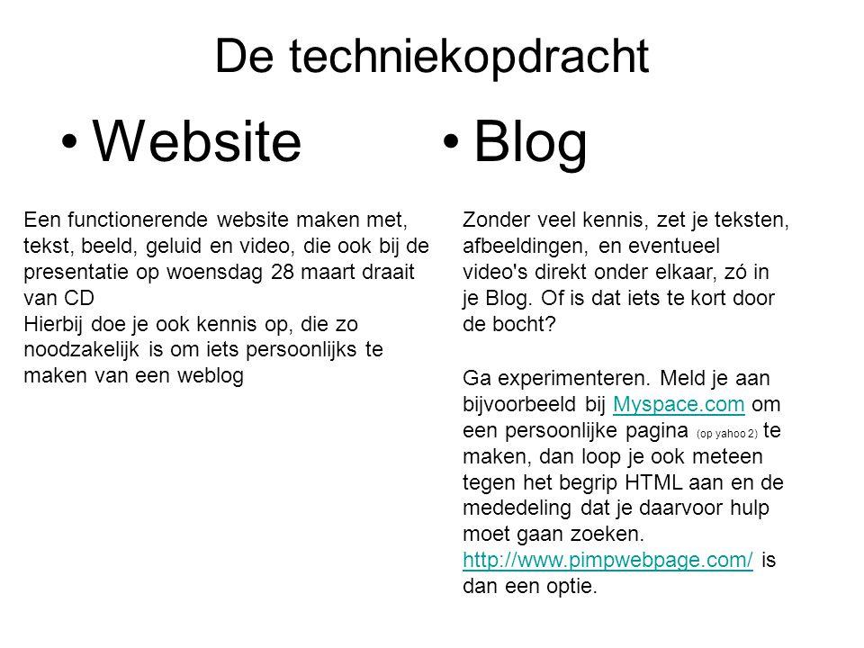 De techniekopdracht •Website•Blog Zonder veel kennis, zet je teksten, afbeeldingen, en eventueel video's direkt onder elkaar, zó in je Blog. Of is dat