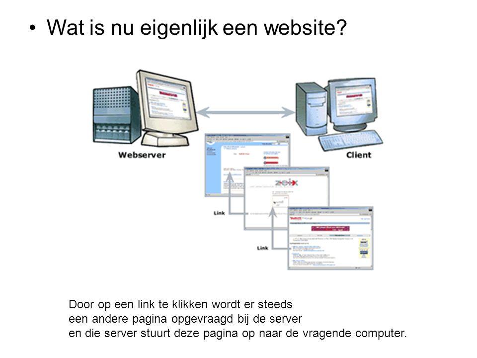 •Wat is nu eigenlijk een website? Door op een link te klikken wordt er steeds een andere pagina opgevraagd bij de server en die server stuurt deze pag