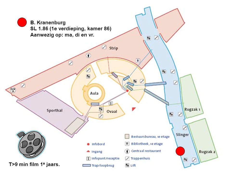 B. Kranenburg SL 1.86 (1e verdieping, kamer 86) Aanwezig op: ma, di en vr. T>9 min film 1 e jaars.