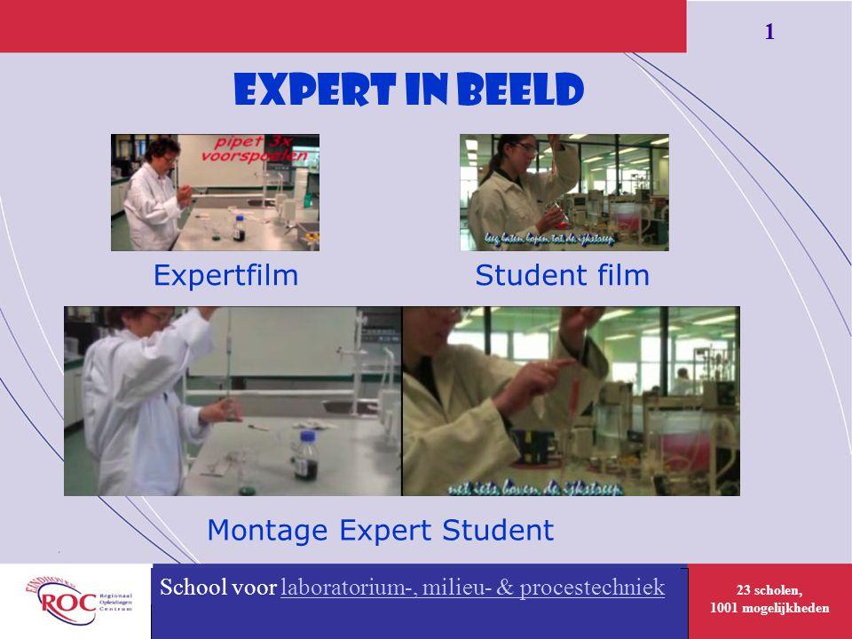 23 scholen, 1001 mogelijkheden 1 School voor Uiterlijke verzorging Expert in Beeld + Expertfilm Montage Expert Student School voor laboratorium-, milieu- & procestechnieklaboratorium-, milieu- & procestechniek Student film