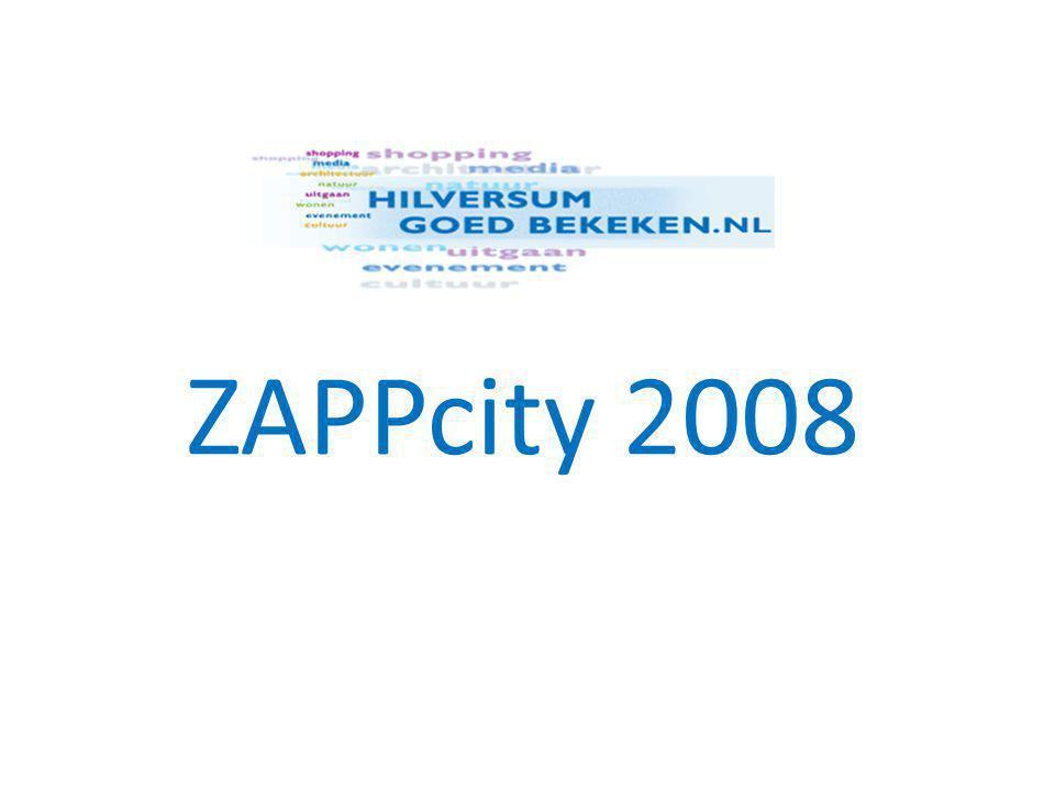 Project ZAPPcity • alle evenementen onder één publicitaire paraplu • 28 augustus – 14 september • kunst, cultuur, sport, media • locaties City en Media Park