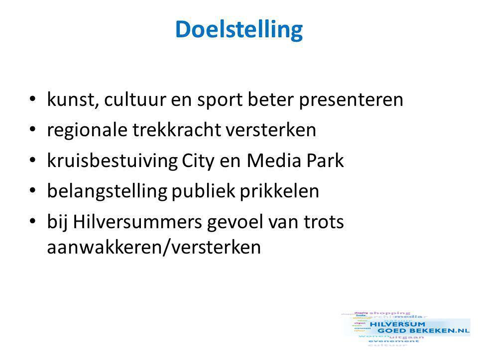 Sub-doelstellingen • Hilversum als Media Stad promoten • terugloop bezoekers Hilversum keren • stimuleren bezoek winkelaanbod • horeca als toegevoegde waarde • paraplu-promotie: meer bekendheid