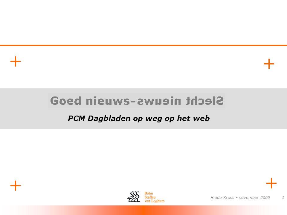 PCM Dagbladen op weg op het web + + + + Hidde Kross - november 200512 Relevante projecten •VK-banen magazine •Online facturen, betalen ?