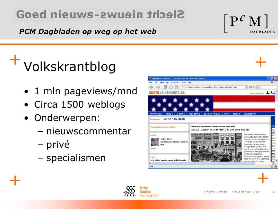 PCM Dagbladen op weg op het web + + + + Hidde Kross - november 200510 Volkskrantblog •1 mln pageviews/mnd •Circa 1500 weblogs •Onderwerpen: –nieuwscom