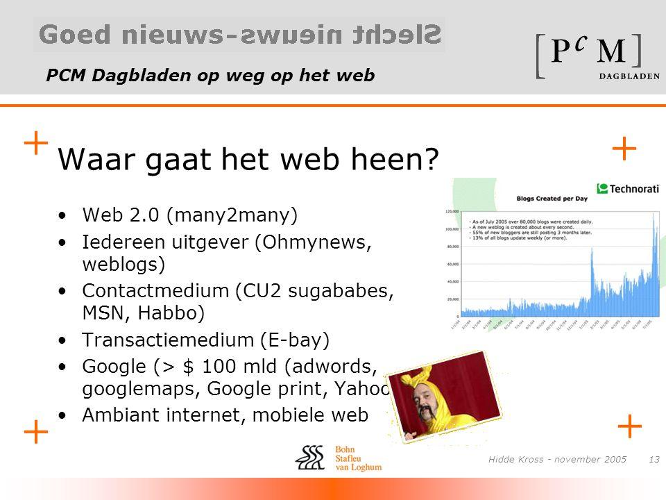 PCM Dagbladen op weg op het web + + + + Hidde Kross - november 200513 Waar gaat het web heen? •Web 2.0 (many2many) •Iedereen uitgever (Ohmynews, weblo