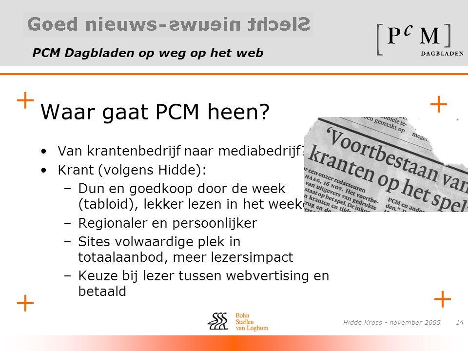 PCM Dagbladen op weg op het web + + + + Hidde Kross - november 200514 Waar gaat PCM heen? •Van krantenbedrijf naar mediabedrijf? •Krant (volgens Hidde
