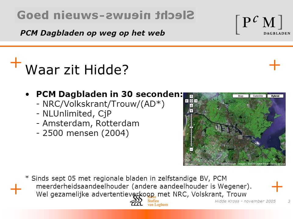 PCM Dagbladen op weg op het web + + + + Hidde Kross - november 20053 Waar zit Hidde? •PCM Dagbladen in 30 seconden: - NRC/Volkskrant/Trouw/(AD*) - NLU