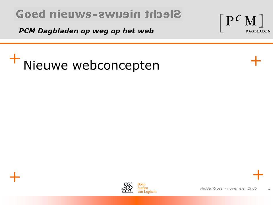 PCM Dagbladen op weg op het web + + + + Hidde Kross - november 20056 Nieuwsklikker •Nieuwsflitsen op je desktop •Uit de Volkskrant, maar ook AD, Telegraaf, CNN •RSS-methode •Reclamemogelijkheden
