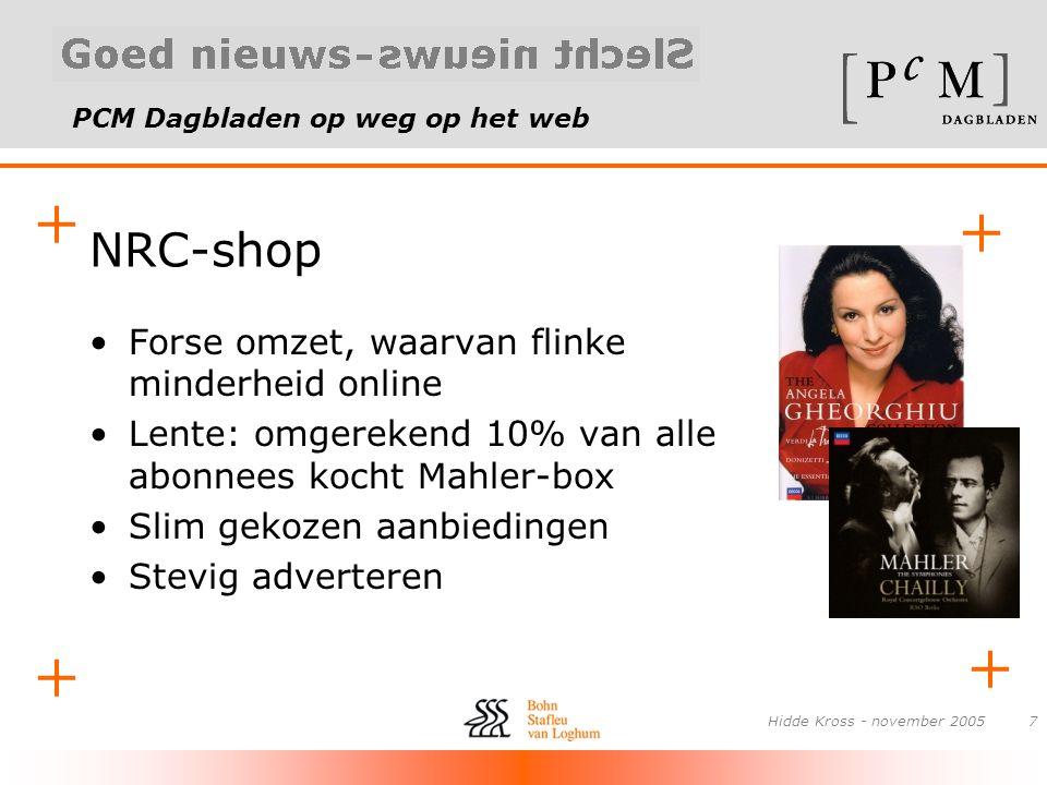 PCM Dagbladen op weg op het web + + + + Hidde Kross - november 20057 NRC-shop •Forse omzet, waarvan flinke minderheid online •Lente: omgerekend 10% va